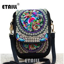 Free Shipping Handmade Embroidery Boho Thai Embroidered Shoulder Messenger Bag Phone Camera Money Famous Brand Cross Body Bag