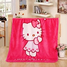 100x140cm Cartoon Rose Hello Kitty Baby Children coral fleece blanket super Soft Coral Quilt Plush Towel Air Sleep Cover bedding