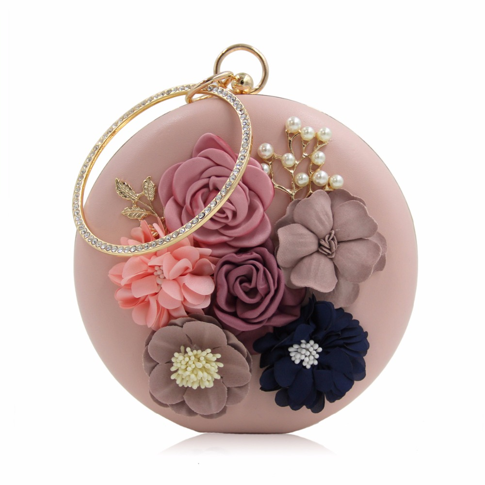 Women ball Evening Hand Bag Flower Pearl Beaded Handbag Wedding Party Chain Purse Small Handbag Day Clutches Bag<br>