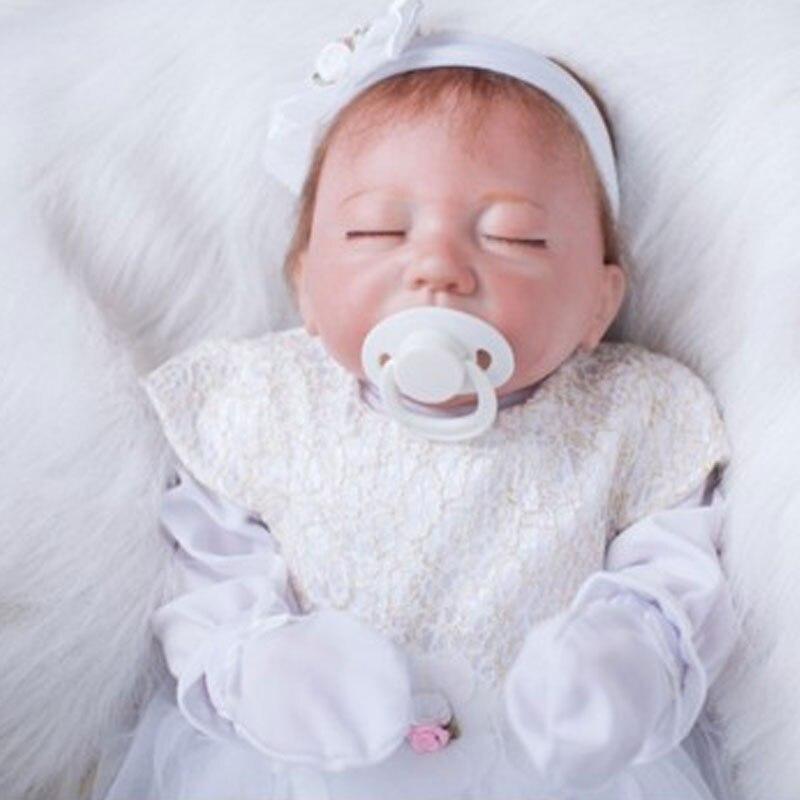 White Dress Princess Reborn Doll 20inch Silicone Reborn Baby Doll 50cm BeBe Doll Girl Reborn Toys Newborn Babies Doll Brinquedos<br><br>Aliexpress