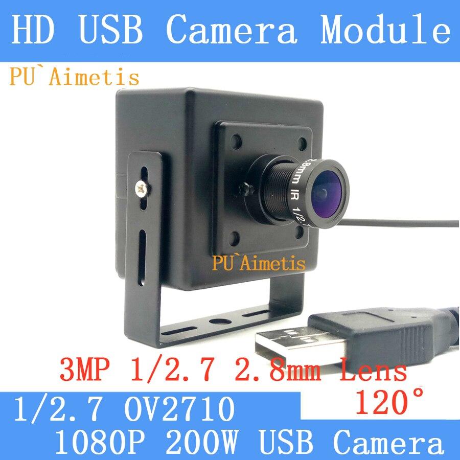 PU`Aimetis 1080P Full Hd MJPEG 30fps High Speed CMOS OV2710 2.8mm 120 degree Mini Surveillance camera Linux UVC Mini USB Camera <br>