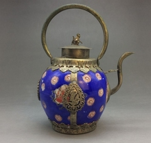 Handmade flagon of blue and white porcelain in China Outsourcing Tibet silver(China)