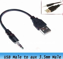 50pcs 3.5mm to USB data Cable USB DATA Sync Adapter Cable for iPod Shuffle 2nd Gen mp3 mp4 phone