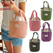 1 Pcs Portable travel canvas lunch bag for women 23*13*16cm Box tote cooler bag Polka dot lunch box Bento picnic pouch storage