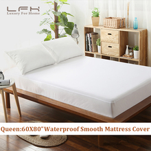 Twin/Full/Queen/King Smooth Waterproof Mattress Protector Hypoallergenic Mattress Cover Fitted Shet Smooth Mattress Protector(China)