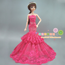 new arrvial collection Luxury red rose fishtail evening dress for barbie doll for Fashion royalty FR doll dress