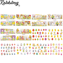 12PCS/SET Sticker & Decal Easter Design Water Transfer Nail Decals Full Cover Nail Sticker For Tips Nail Art Decorations(China)