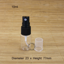 50pcs/Lot Wholesale 10ml Plastic Perfume Spray Bottle Atomize Cap Jar 1/3OZ Empty Cosmetic Container Small Black Cap Refillable(China)