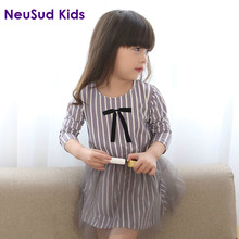 New 2017 Girls Stripe Dress Kids Autumn Dress Children Patchwork Dress Baby Long Sleeve Mesh Toddler Girls' Dress,2-8Y,#2227