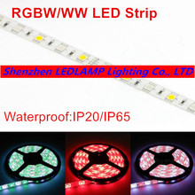 Free Shipping RGBW 5050 LED strip Light IP20/IP65 5M DC12V 60Leds/M 300 LEDs Flexible Bar Light strips RGB + White/WW light