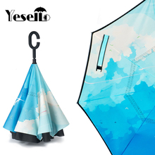 Yesello 1PCS City Sky Reverse Double Layer Inverted Umbrella Self Stand Rain Protection Long Hands Folding For Car Fishing