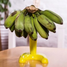 Yellow Plastic Banana Tray Hook Hanger Grapes Fruit Rack Holder Stand Tree Decor percha bananera(China)