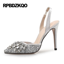 Sparkling Rhinestone Ultra 12 44 Pumps Scarpin Gold Slingback Heels Shoes Silver Plus Size High 33 Pointed Toe Summer Ladies(China)