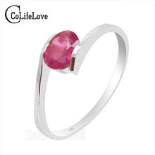 100% natural genuine ruby gemestone fashionable silver ring 925 Solid Sterling Silver ruby wedding ring best gift for girl(China)