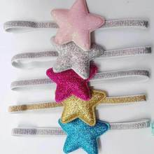 birthday gift glitter star headband ,girl sparkly elastic ribbon hair band pink gold blue gray fuchsia