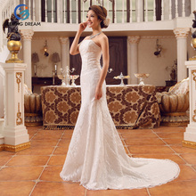 2017 Girl Ivory White/Red Sexy Mermaid Dress Sexy Wedding Dress Floor-Length Brush Train Bride Lace Elegant Plus Size Customzie