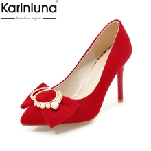 Buy Karinluna Fashion 2018 Plus Size 34-39 Women Pumps Pointed Toe Slip Shoes Woman Thin High Heels Party Wedding Pumps for $29.42 in AliExpress store