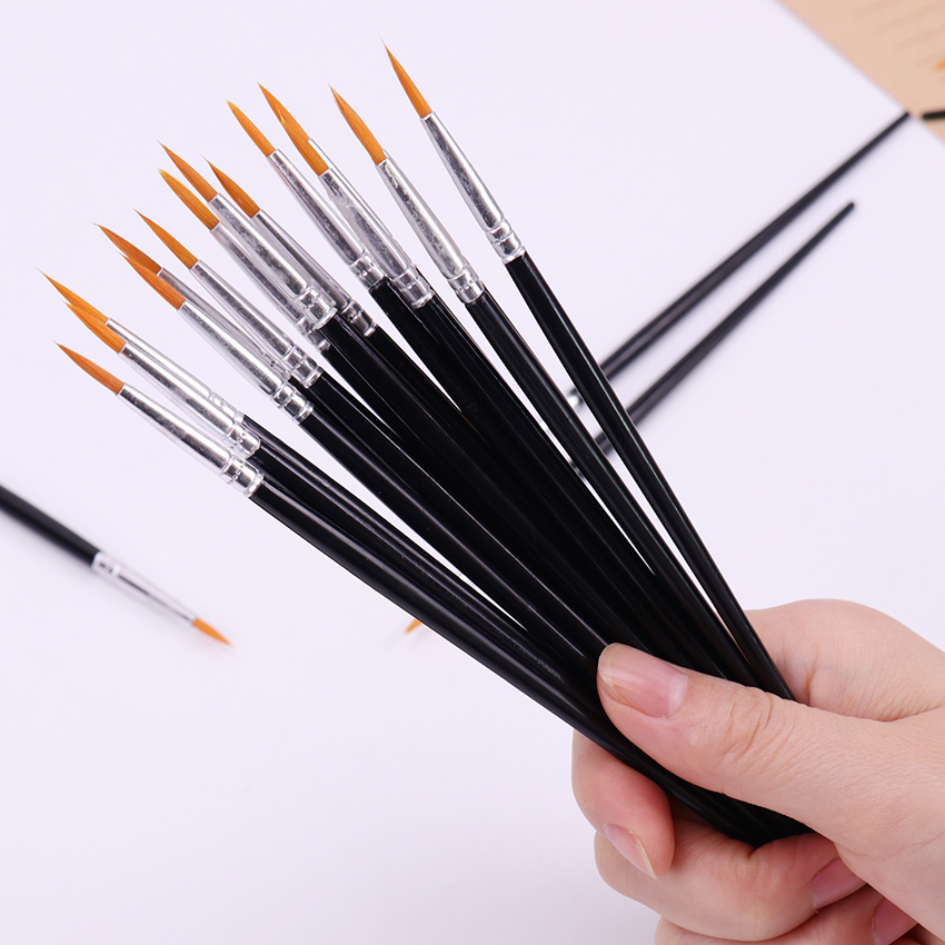 10PCS Fine Hand Painted Hook Line Pen Round Tip Watercolor Drawing Brush Pen Student Stationery Art Supplies