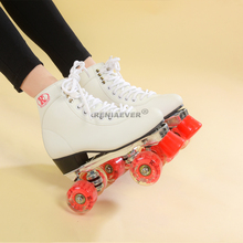 RENIAEVER double row roller skate, women's aluminum alloy, metal base, polyurethane red glow skating shoes, red LED flash wheel(China)