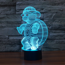 2016 New Creative ninja turtle 3d night light Three-dimensional LED Light Kids Living room Table Lamp LED Bulbing Lamp decorate(China)