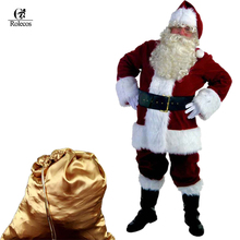 Rolecos Santa Claus Cosplay Costume A Full Set Of Christmas Costumes Red and Blue Santa Claus Christmas Clothes Luxury Suit(China)