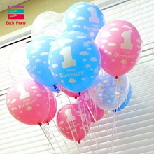 12 inch happy birthday party decorations kids boys girls 1st birthday latex balloons festival balls baby shower party supplies(China)