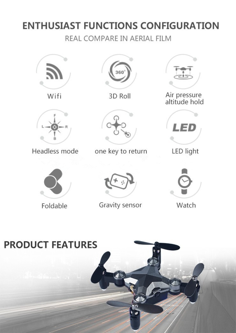 2017 DH-800 Watch Control Wifi FPV RC Selfie Drone 2.4GHz Foldable Pocket Mini RC Drone Portable RC Quadcopter with 0.3MP Camera