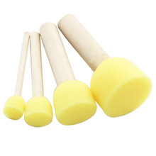 4 Set Yellow Sponge Paint Brush Seal Sponge Brush Wooden Handle Children's Painting Tool Graffiti Kids Diy Doodle Drawing Toys