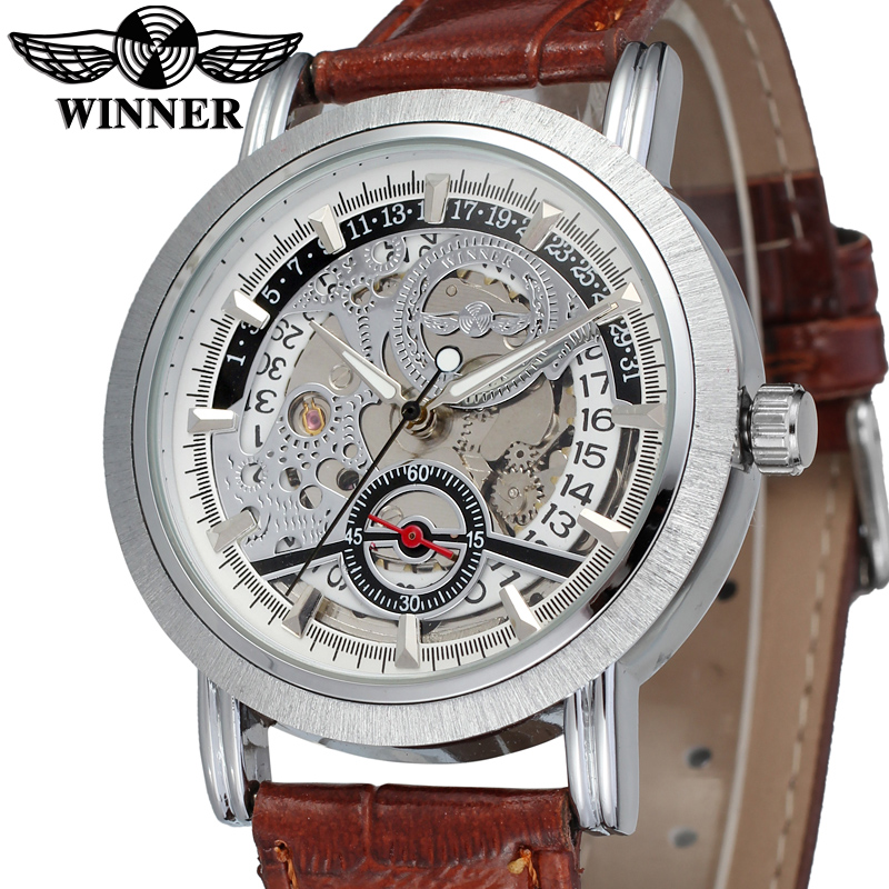 WRG8077M3S2 winner brand new arrival Automatic men silver color skeleton watch with brown leather band wristwatch free shipping<br>