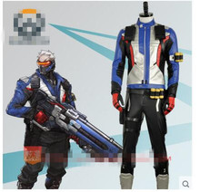 OW SOLDIER:76 Cosplay Costume  Custom Made Uniforms Unisex Free Shipping Shirt+Straps+Arm ornament+Waistbelt+Gloves