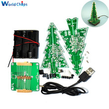 3D Christmas Tree DIY Kits 7 Colors Light Flash LED Circuit Christmas Trees Free Shipping(China)