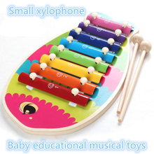 baby music toys instrument kids crib toy wooden child hand knocking piano toy 1 - 3 years baby small dinosaur xylophone m359