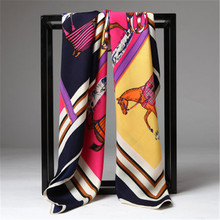 Twill Silk Women Scarf French Design Striped Horse Print Square Scarves Wraps 100*100cm Brand Luxury Gift Fashion Large Shawls