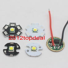 Cree XML XM-L T6 Cool White 10W High Power LED Emitter on 20mm 16mm 14mm 12mm Black or White PCB+ DC3.7V 5 Mode Driver