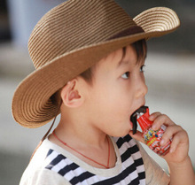 10pcs free shipping/2017-K061 summer along brim belt decorated cowboy straw kids sun beach hat children Outdoor leisure cap