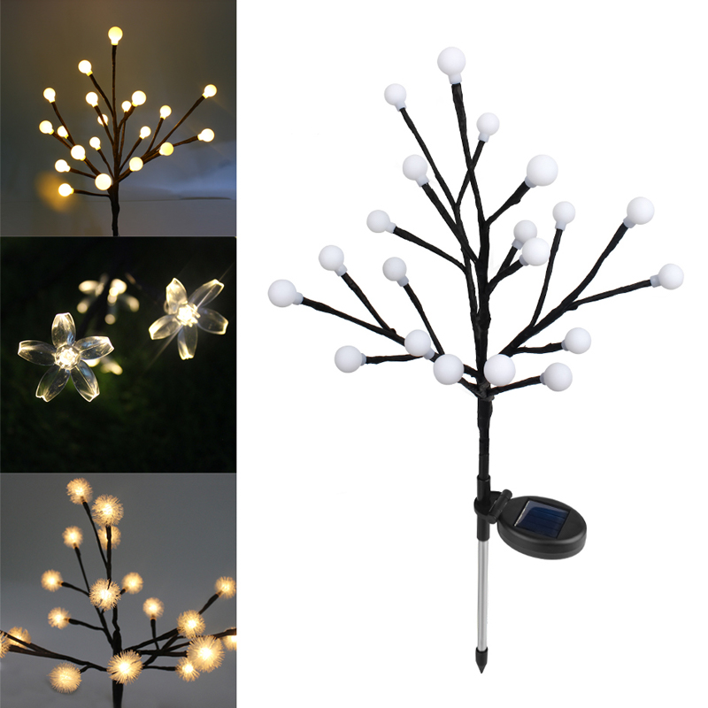 LED Solar Power Lawn Light Outdoor Garden Tree Light Waterproof Patio Christmas Tree Party Yard Landscape Night Light