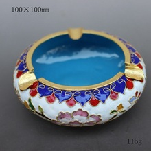 The characteristics of Beijing China wind technology gift genuine fetal copper filigree Enamel Cloisonne ashtray white