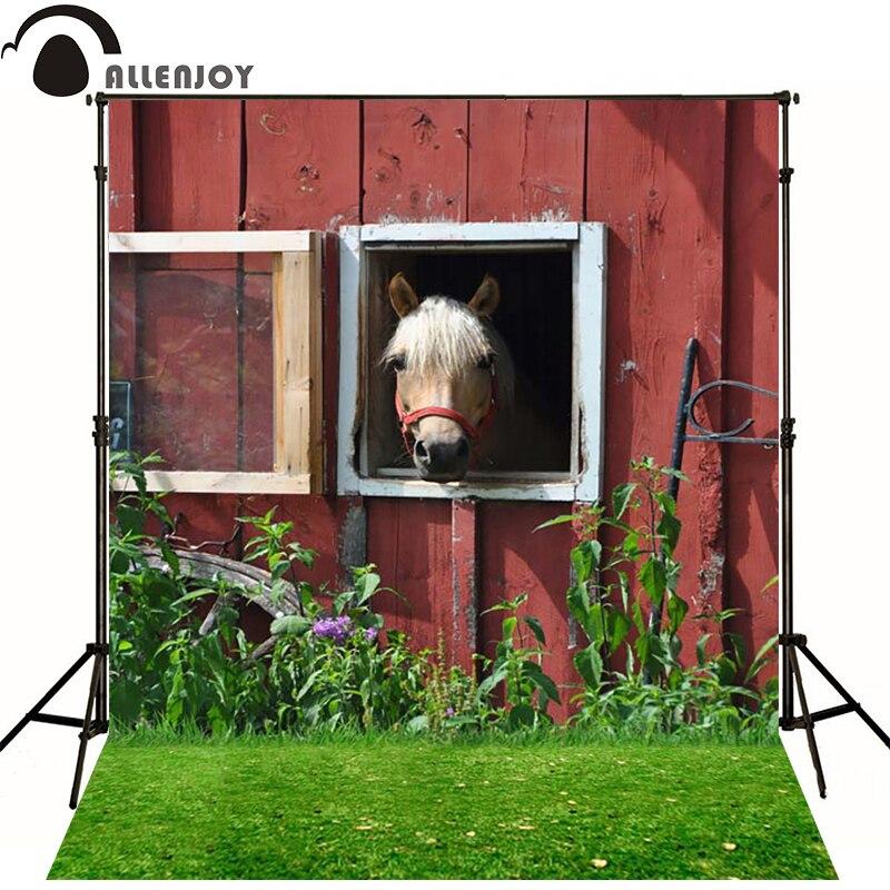 Allenjoy Photographic background House plants turf horse newborn vinyl backdrops  photocall custom wall floor<br><br>Aliexpress