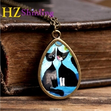2017 New Rosina Wachtmeister Cats Necklace Colorful Cat Tear Drop Pendant Animal Jewelry Glass Necklaces Vintage Chain