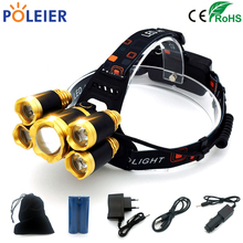 10000 Lumens LED Head Torch Headlamp 1*T6+4*XPE Frontal Light Torch yellow Headlight Waterproof 18650 Rechargeable Battery(China)