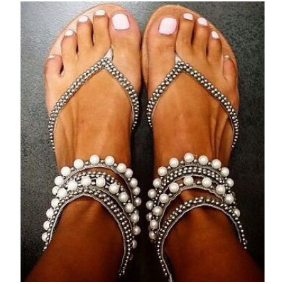 2017 Summer women sandals shoes sandals plus size Beading Rhinestone Thong Flat sandals women gladiator sandals AF58<br>