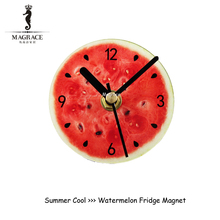 2017 Fashion Creative Refrigerator clocks pastoral fruit watermelon Fridge Magnet mail magnetic stick hanging clock magnet saat