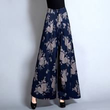 high waist printing culottes pants horn wide leg pants pants dance pants female trousers Belly Dance Casual Boho Wide Trousers