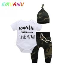 2017 Hot Sales 3PCS Newborn outfits Spring Autumn cotton clothes kids baby boys girls romper tops +pants+ hat clothes(China)