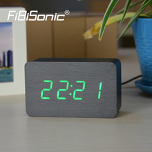 FiBiSonic Wooden Alarm Clocks With Thermometer ,Sound Control Wood Led clocks, Digital Desk&Table Clock