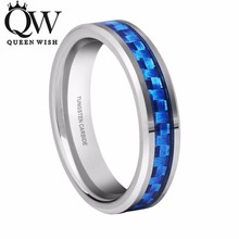 Queenwish Unique Engagement Rings 4mm Tungsten Ring Silver Color Band Blue Carbide Fiber inlay Anniversary Rings Antique Jewelry