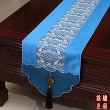 3 sizes Chinese Vintage Mixed Silk&Brocade Wave Pattern Blue Table Runner  Bed Flag