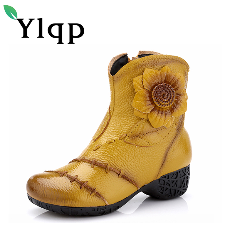 Ylqp Women Genuine Leather Boots 2018 Winter Fashion High Quality Soft Bottom Med Heels Ankle Boots Female Cowhide Floral Shoes<br>