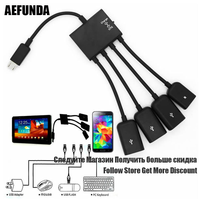 Splitter Hub-Cord-Adapter Cable Host Otg Charge Micro-Usb Android Smartphones Usb-2.0 title=