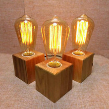 Wooden Table Lamp Vintage Desk Lamp  40W Edison Bulb 110v-220V Bedroom Night Light Table Light Desk Light Coffee Bar